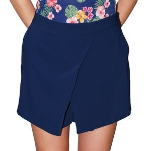 Ralph Lauren Women's Angled Pleat Shorts, Navy